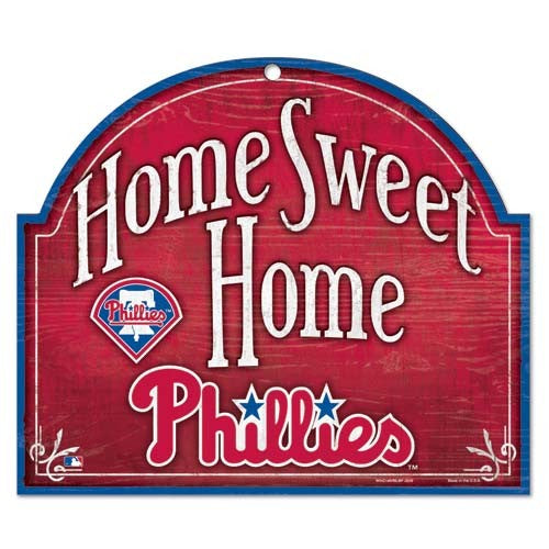 Philadelphia Phillies Home Sweet Home MLB Baseball Wooden Sign