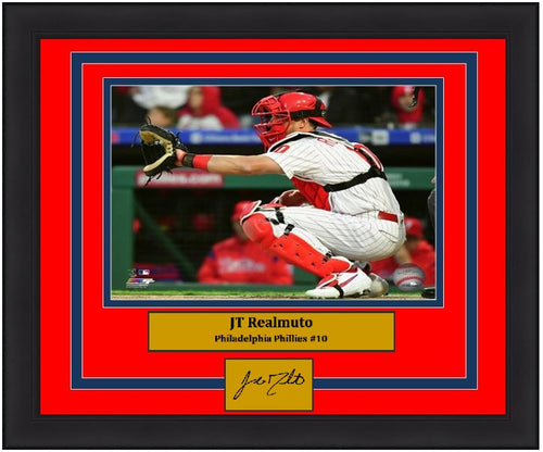 "JT Realmuto Philadelphia Phillies Catcher MLB Baseball 8"" x 10"" Framed Photo with Engraved Autograph - Dynasty Sports & Framing"
