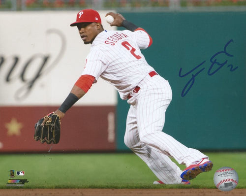 Jean Segura Philadelphia Phillies Throw Autographed MLB Baseball Photo - Dynasty Sports & Framing
