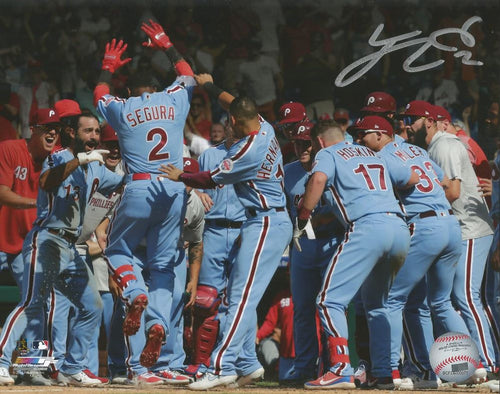Jean Segura Philadelphia Phillies Walk-Off Home Run v. Mets Autographed MLB Baseball Photo - Dynasty Sports & Framing