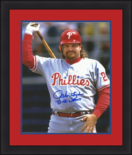 John Kruk Philadelphia Phillies Autographed Away Framed and Matted Photo - Dynasty Sports & Framing
