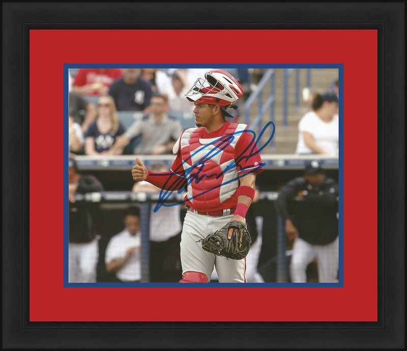 Jorge Alfaro Philadelphia Phillies Autographed Catcher Framed and Matted Photo - Dynasty Sports & Framing