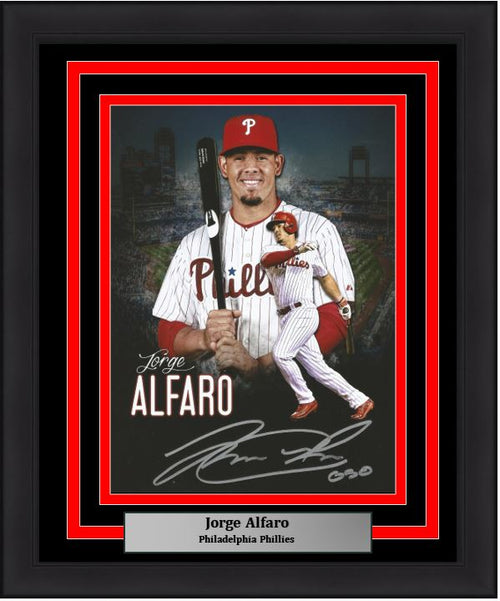 Philadelphia Phillies Jorge Alfaro Collage Autographed MLB Baseball Framed and Matted Photo Inscribed 'Oso'