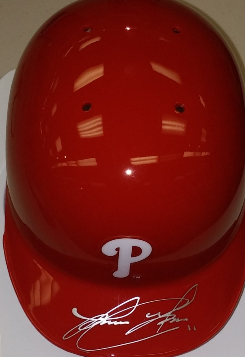 Philadelphia Phillies Jorge Alfaro Autographed MLB Baseball Mini-Helmet - Dynasty Sports & Framing