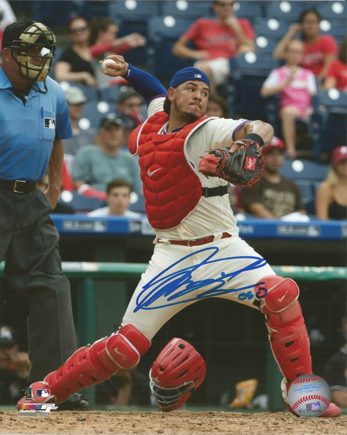 Jorge Alfaro Philadelphia Phillies Throw Autographed MLB Baseball Photo Inscribed 'Oso' - Dynasty Sports & Framing