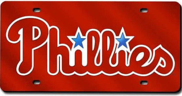 Philadelphia Phillies Red Laser Cut License Plate - Dynasty Sports & Framing