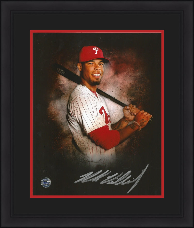 "Philadelphia Phillies Nick Williams Autographed 8"" x 10"" Framed & Matted Photo (Pose Against Black) - Dynasty Sports & Framing"