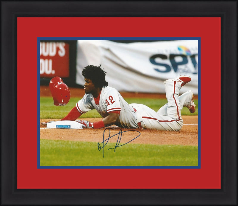 Odubel Herrera Philadelphia Phillies Autographed Framed and Matted Slide Photo - Dynasty Sports & Framing