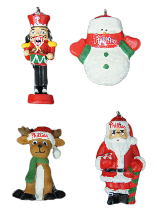 Philadelphia Phillies MLB Baseball 4-Piece Holiday Ornament Set