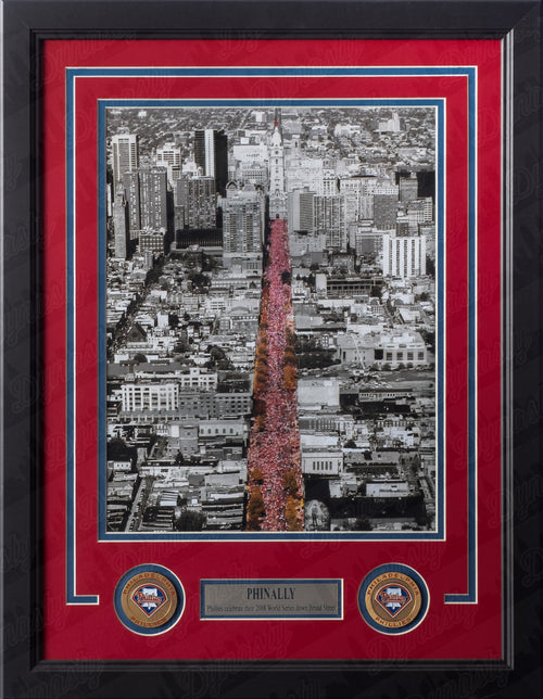 Philadelphia Phillies 2008 World Series Parade on Broad Street MLB Baseball Framed and Matted Photo - Dynasty Sports & Framing