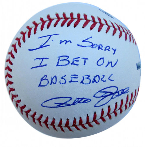 Pete Rose Autographed Official Major League Baseball with 'Sorry I Bet on Baseball' Inscription - Dynasty Sports & Framing