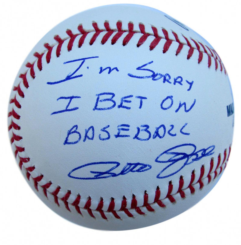 Pete Rose Autographed Official Major League Baseball with 'Sorry I Bet on Baseball' Inscription