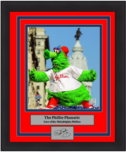 "Philadelphia Phillies Phanatic Engraved Autograph MLB Baseball 8"" x 10"" Framed & Matted Mascot Photo (Dynasty Signature Collection)"