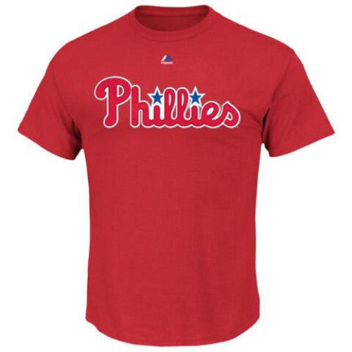 Philadelphia Phillies Majestic Red Youth Wordmark T-Shirt - Dynasty Sports & Framing