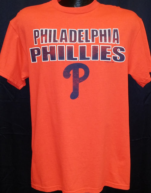 Philadelphia Phillies Majestic Red T-Shirt with Navy Team Wordmark - Dynasty Sports & Framing