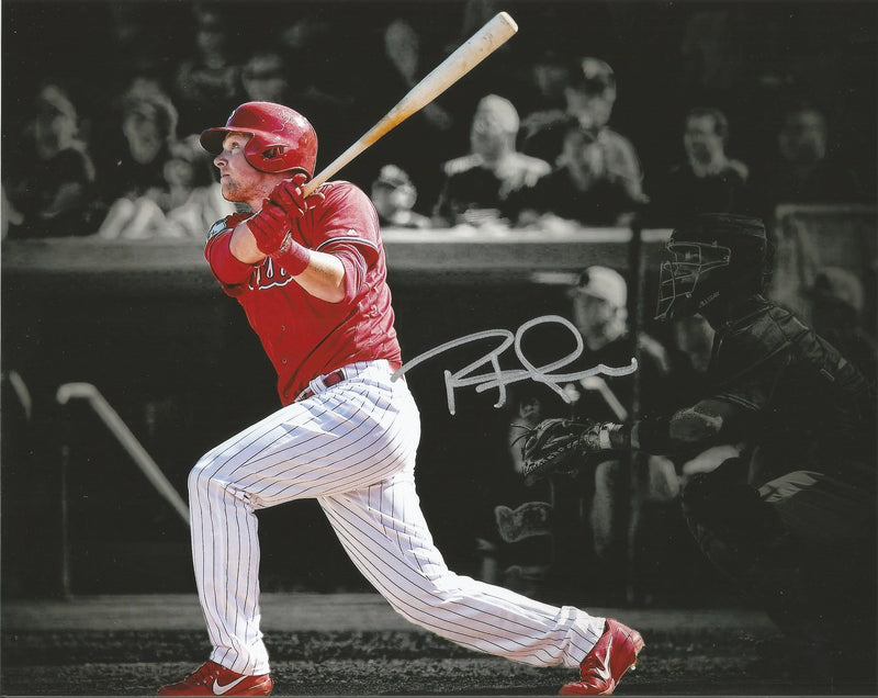 Philadelphia Phillies Rhys Hoskins Blackout Autographed MLB Baseball Photo