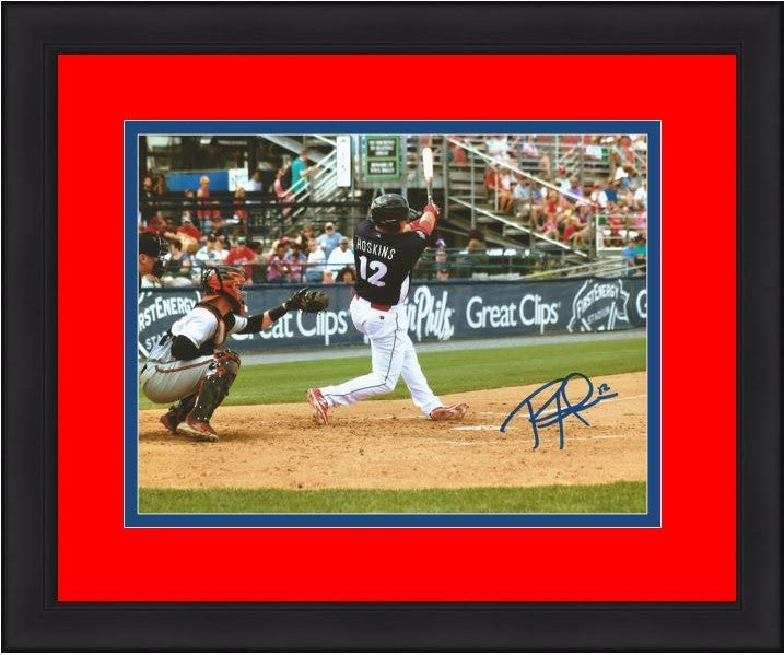 Rhys Hoskins Philadelphia Phillies Autographed Swing Framed and Matted Photo - Dynasty Sports & Framing