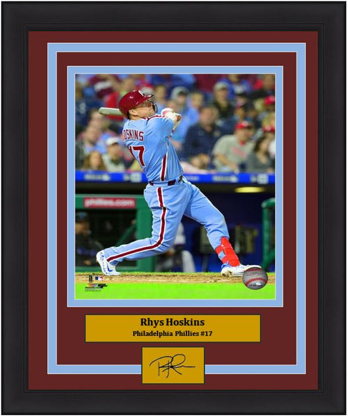 "Rhys Hoskins Philadelphia Phillies Throwback MLB Baseball 8"" x 10"" Framed and Matted Photo with Engraved Autograph"