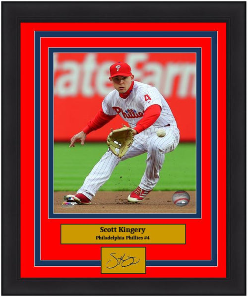 "Scott Kingery Philadelphia Phillies Infield Action MLB Baseball 8"" x 10"" Framed and Matted Photo with Engraved Autograph"