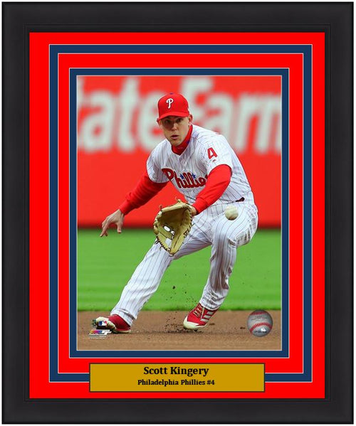 "Scott Kingery Philadelphia Phillies Infield Action MLB Baseball 8"" x 10"" Framed and Matted Photo"