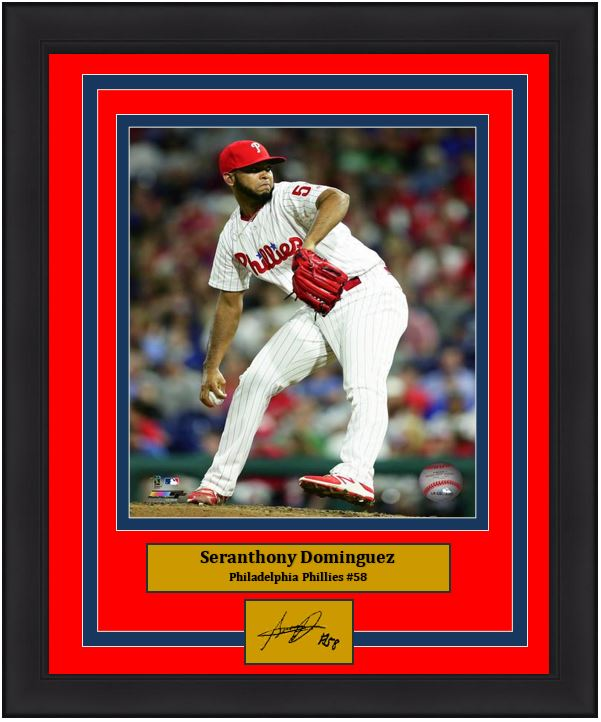 "Seranthony Dominguez Philadelphia Phillies on the Mound MLB Baseball 8"" x 10"" Framed and Matted Photo with Engraved Autograph"