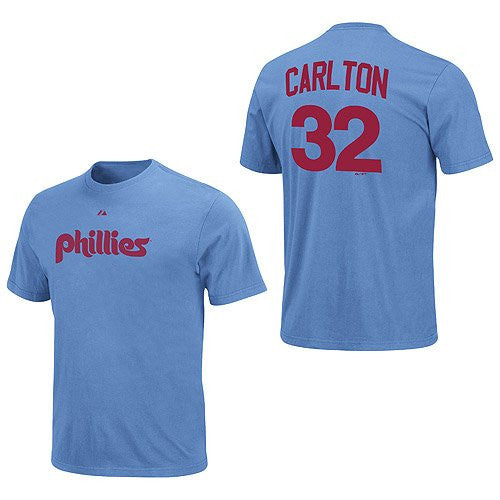 Philadelphia Phillies Steve Carlton Majestic Official Player Name/Number T-Shirt- Powder Blue - Dynasty Sports & Framing