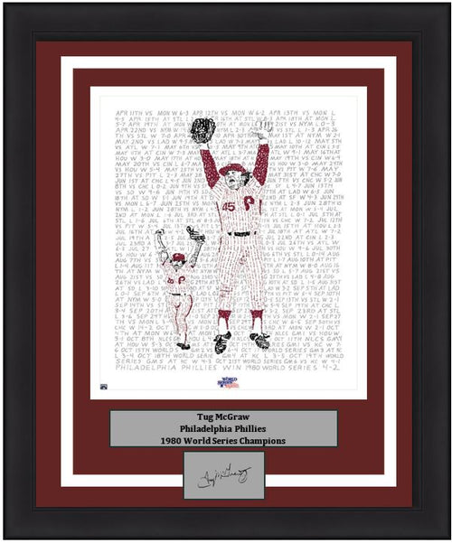 Philadelphia Phillies Tug McGraw 1980 World Series Word Art Engraved Autograph MLB Baseball 16x20 Framed Photo (Dynasty Signature Collection)