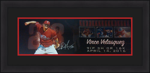 "Vincent Velasquez Philadelphia Phillies Autographed 12"" x 36"" Framed and Matted Collage - Dynasty Sports & Framing"