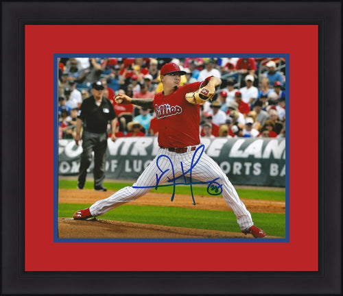 Vincent Velasquez Philadelphia Phillies Autographed Framed and Matted Photo (Pitching) - Dynasty Sports & Framing