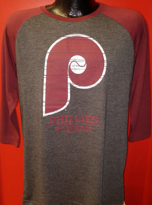 Philadelphia Phillies Heathered Charcoal/Maroon Cooperstown Collection Tri-Blend 3/4-Sleeve Raglan T-Shirt - Dynasty Sports & Framing
