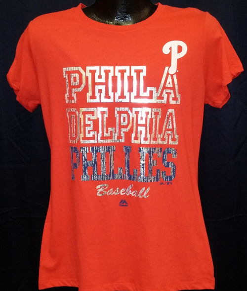 Philadelphia Phillies Majestic Red Women's Dazzle T-Shirt - Dynasty Sports & Framing
