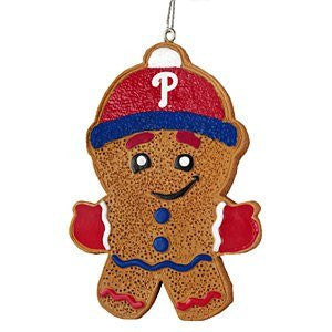 Philadelphia Phillies Gingerbread Man Holiday Ornament - Dynasty Sports & Framing