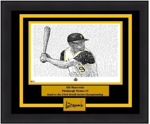Pittsburgh Pirates Bill Mazeroski Daniel Duffy Road to the 1960 World Series Word Art Engraved Autograph MLB Baseball 16x20 Framed Photo (Dynasty Signature Collection)