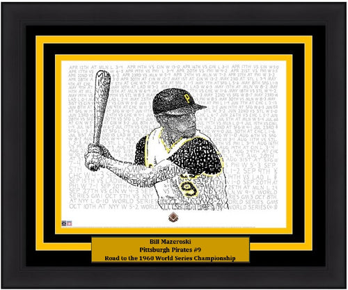 "Pittsburgh Pirates Bill Mazeroski Daniel Duffy Road to the 1960 World Series Word Art 16"" x 20"" Framed and Matted Photo"