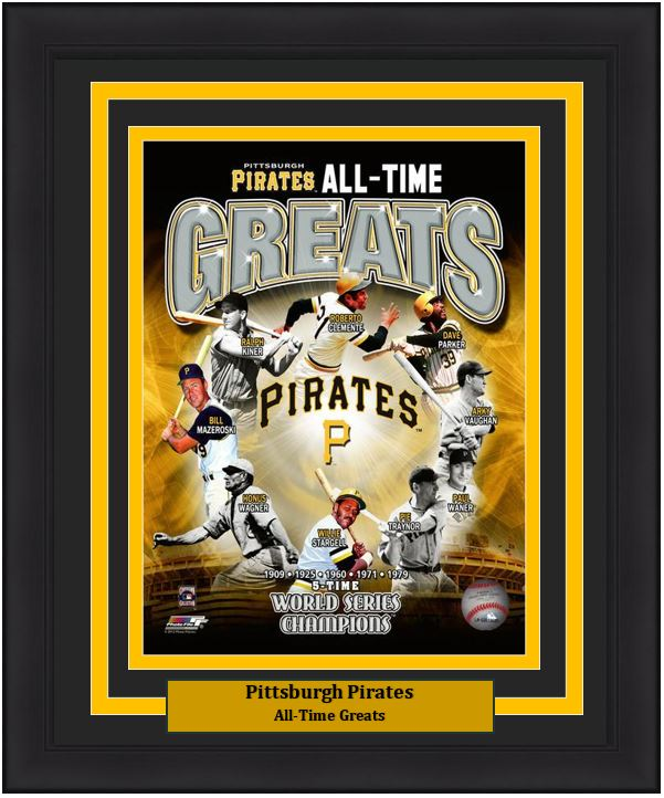 "Pittsburgh Pirates All-Time Greats MLB Baseball 8"" x 10"" Framed and Matted Photo"