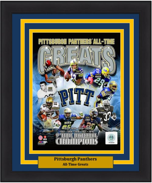 "Pittsburgh Panthers All-Time Greats NCAA College Football 8"" x 10"" Framed and Matted Photo - Dynasty Sports & Framing"