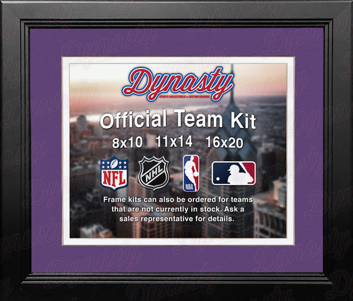 NBA Basketball Photo Picture Frame Kit - Charlotte Hornets (Purple Matting, White Trim) - Dynasty Sports & Framing