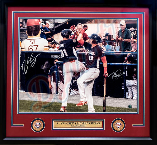 "Rhys Hoskins & Dylan Cozens Autographed Philadelphia Phillies 16"" x 20"" Framed Baseball Photo - Dynasty Sports & Framing"