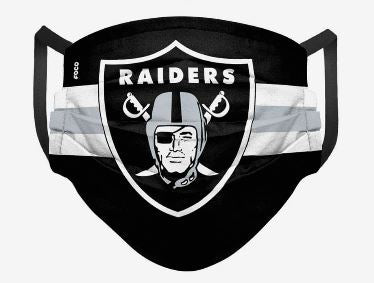 Las Vegas Raiders Stripe Big Logo Pleated Face Cover Mask - Dynasty Sports & Framing