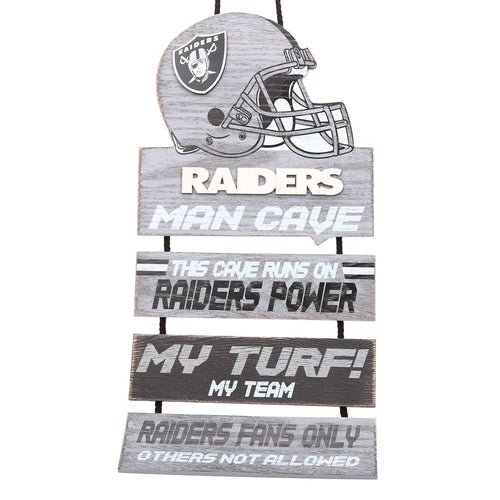 Las Vegas Raiders NFL Football Wooden Helmet Man Cave Dangle Sign - Dynasty Sports & Framing
