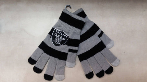 Las Vegas Raiders NFL Football Striped Texting Gloves - Dynasty Sports & Framing