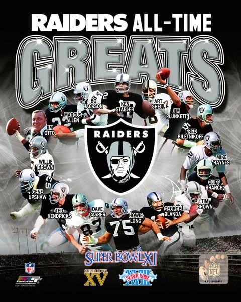 "Oakland Raiders All-Time Greats NFL Football 8"" x 10"" Photo"