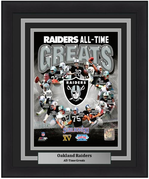 "Oakland Raiders All-Time Greats NFL Football 8"" x 10"" Framed and Matted Photo"