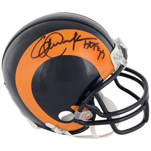Eric Dickerson Los Angeles Rams Autographed NFL Football Throwback Mini-Helmet with Hall of Fame Inscription