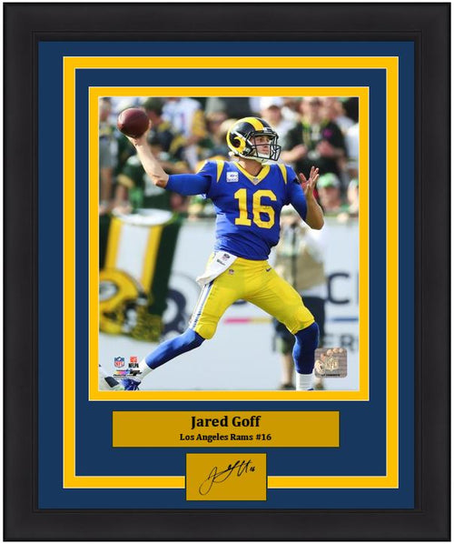 "Jared Goff in Action Los Angeles Rams NFL Football 8"" x 10"" Framed and Matted Photo with Engraved Autograph - Dynasty Sports & Framing"