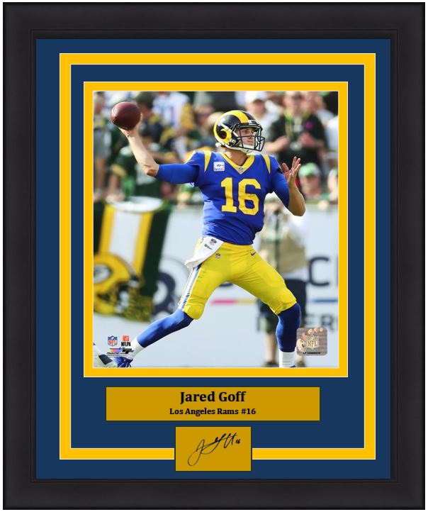 sports shoes 11bd3 b7efd Los Angeles Rams Jared Goff Engraved Autograph NFL Football 8