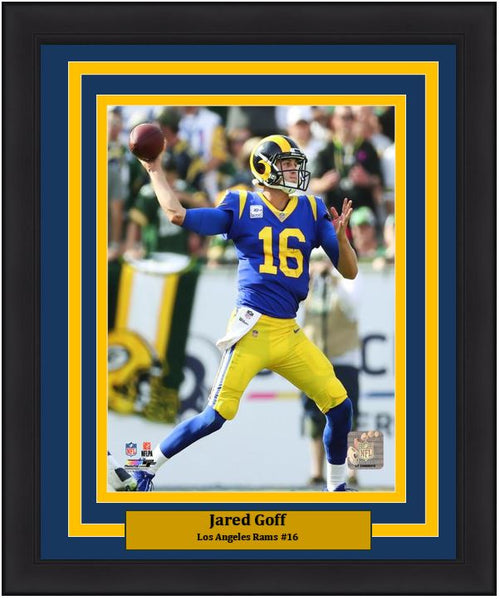 "Jared Goff in Action Los Angeles Rams NFL Football 8"" x 10"" Framed and Matted Photo"