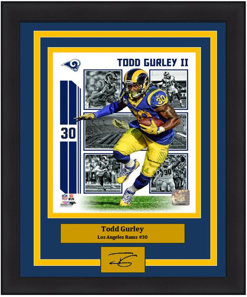 "Todd Gurley Player Collage Los Angeles Rams NFL Football 8"" x 10"" Framed and Matted Photo with Engraved Autograph"