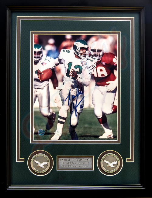"Philadelphia Eagles Randall Cunningham Run Autographed NFL Football 8"" x 10"" Framed and Matted Photo"