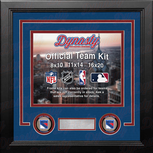 NHL Hockey Photo Picture Frame Kit - New York Rangers (Blue Matting, Red Trim)